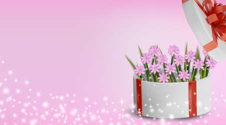 Floral collection chamomile in the gift box. Spring nature. Love concept, Mothers Day, Woman day. Illustration for your design. Vector illustration. Ilustracja