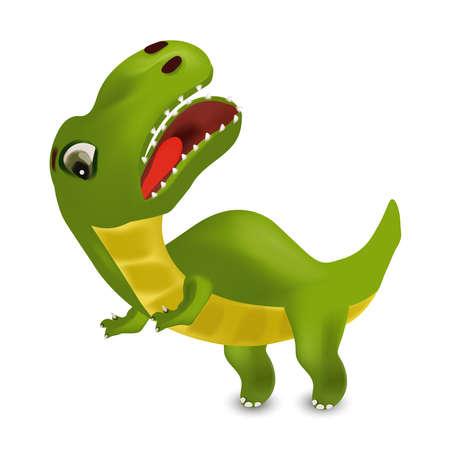 Dinosaurs Tyrannosaurus cartoon character. Evil Dinosaur on white background for your design. 3D vector illustration.
