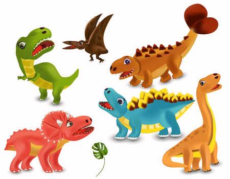 Dinosaurs Tyrannosaurus, Brachiosaurus, Pterodactyl, Triceratops, Stegosaurus cartoon character. Big collection Dinosaurs. Angry and funny Dinosaur on white background. 3D vector illustration. Ilustracja