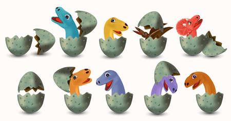 Collection Dinosaurs hatching from an egg. Dinosaurs Tyrannosaurus, Brachiosaurus, Pterodactyl, Triceratops, Stegosaurus. Vector illustration.