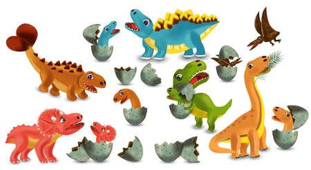 Dinosaurs Tyrannosaurus, Brachiosaurus, Pterodactyl, Triceratops, Stegosaurus cartoon character. Dinosaurs hatching from an egg. 3D vector illustration