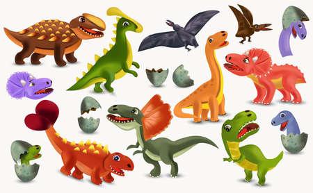 Dinosaurs Tyrannosaurus, Brachiosaurus, Pterodactyl, Triceratops, Stegosaurus cartoon character. Big collection Dinosaurs. Dinosaurs hatching from an egg. 3D vector illustration.