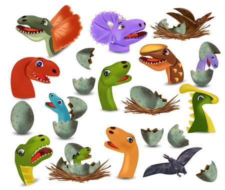 Collection Dinosaur heads and eggs dinosaur. Dinosaurs Tyrannosaurus, Brachiosaurus, Pterodactyl, Triceratops, Stegosaurus cartoon character. Dinosaurs hatching from an egg. Vector icon