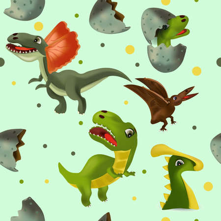 Vector seamless with Dinosaur and eggs for your design textile, wallpapers, fabric, posters. Funny dinosaurs and Pterodactyl.Vector illustration.