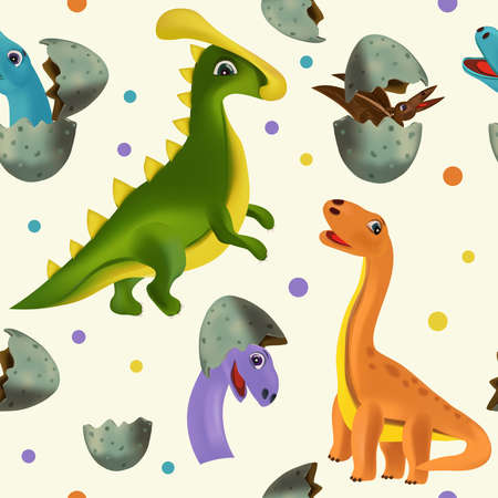 Vector seamless with Dinosaur and eggs for your design textile, wallpapers, fabric, posters. Funny dinosaurs and Pterodactyl hatching from an egg. Vector illustration.