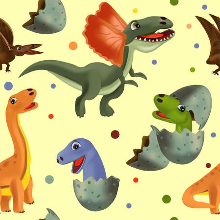 Funny dinosaurs and Pterodactyl hatching from an egg. Vector seamless with Dinosaur and eggs for your design textile, wallpapers, fabric, posters. Vector illustration. Ilustracja