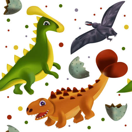 Cute Dinosaur pattern on white background. Dinosaur print for your design textile, wallpapers, fabric, posters. Funny graphics dinosaurs . Vector illustration.