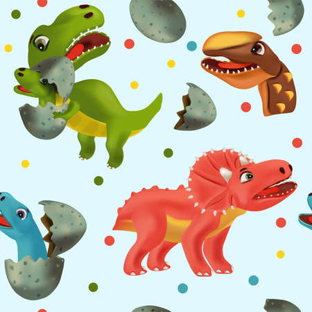 Seamless pattern with Funny Dinosaur and Pterodactyl for your design textile, wallpapers, fabric, posters. Funny dinosaurs hatching from an egg. Vector illustration.