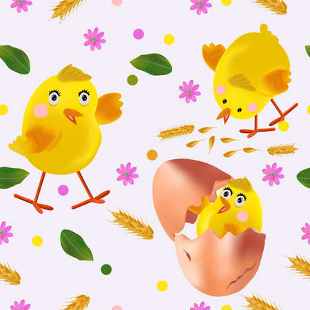 Easter chicken, flowers, eggs, green leaf, egg shell. Seamless pattern with cute cartoon chickens for your design textile, wallpapers, fabric, posters. Vector illustration.