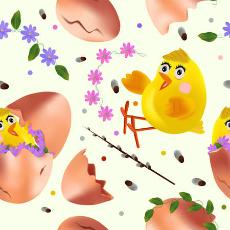 Seamless pattern with Easter chicken, flowers, eggs, green leaf, pussy willow. Cute cartoon chickens for your design textile, wallpapers, fabric, posters. Vector illustration.