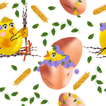 Seamless pattern with Easter chicken, flowers, eggs, pussy willow. Funny cartoon chickens for your design. Vector illustration.