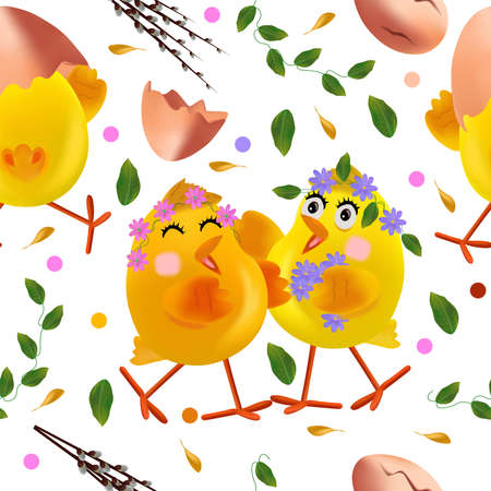 Seamless pattern with Easter chicken, flowers, eggs, green leaf, pussy willow, egg shell. Cute cartoon chickens for your design textile, wallpapers, fabric, posters. Vector illustration. Ilustracja