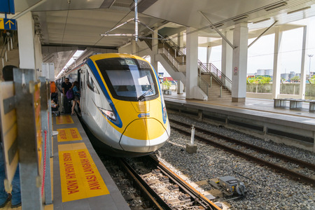 intercity: Penang, Malaysia - circa September 2016: KTM ETS Train in Penang, Malaysia. The KTM ETS is an inter-city rail service operated in Malaysia and is the fastest train in the country.
