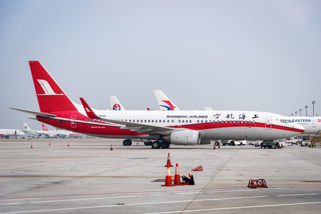 Shanghai, China - circa September 2016: A Shanghai Airlines aircraft landed in Shanghai Pudong Airport, China. Shanghai Airlines is a major regional airline in Asia with its headquarters in Shanghai. Editorial