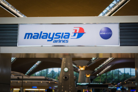 famous industries: Kuala Lumpur, Malaysia - August 2016: Malaysia Airlines Logo at Kuala Lumpur International Airport, Malaysia. Malaysia Airlines is Malaysias flag carrier.