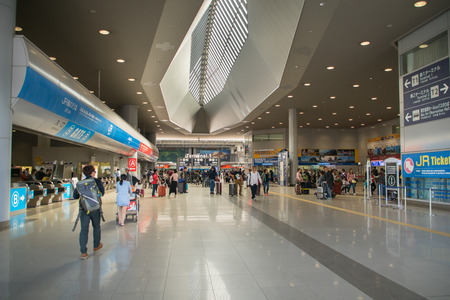 australasia: Osaka, Japan - November 2016: Entrance area around Terminal 1 of Kansai International Airport (KIX), Osaka, Japan. Kansai Airport is one of the busiest airports in Japan and an Asian hub, with 780 weekly flights to Asia and Australasia.