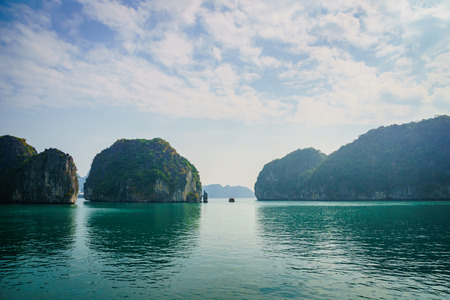 Scenic Ha Long Bay cruise view with lime stone hills in South East Asia, Vietnam, Cat Ba - Ha long Bay