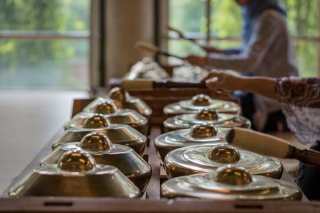 "Traditional balinese percussive music instruments for ""Gamelan"" ensemble music, traditional music in Bali, Indonesia."
