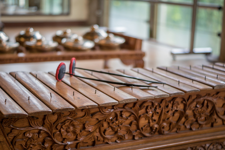 Picture of Saron, a gamelan music instrument, a traditional music in Bali, Indonesia Stock Photo