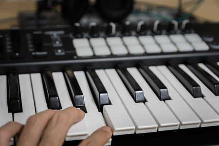 MIDI keyboard synthesizer piano keys closeup for electronic music production  recording