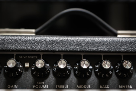 guitar amp closeup for rock music studio production