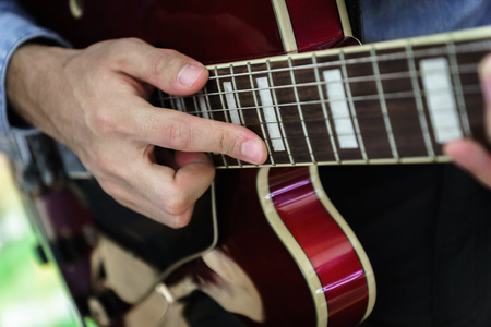 electric guitar close-up playing for jazz rock music Stock Photo