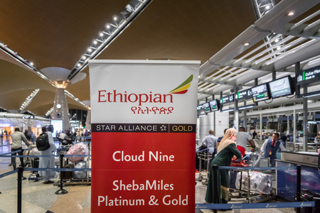 Kuala Lumpur, Malaysia -November 2017: Ethiopian Airlines check-in counter at Kuala Lumpur International Airport. Ethiopian Airlines is the flag carrier of Ethiopia, Africa.