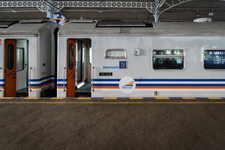 Yogyakarta, Indonesia - October 2017: Train in Indonesia in Yogyakarta operated by PT Kereta Api, the state-owed company operates Indonesias railway networks