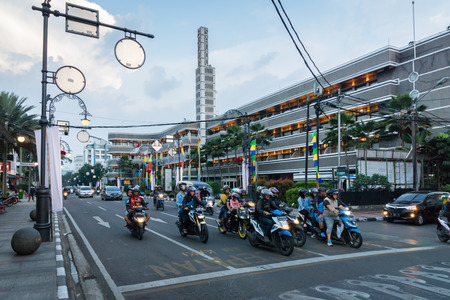 Bandung, Indonesia - October 2017 : Bandung city traffic in the central area street, downtown view. Bandung is capital of Indonesia's West Java province.