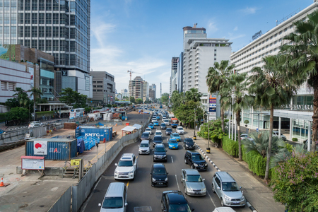 Jakarta, Indonesia - November 2017: Jakarta cityscape with traffic and construction in the central downtown. Jakarta is the capital city of Indonesia, developing rapidly. Editorial