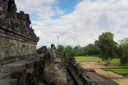 Buddhist statues of Borobudur temple in Yogyakarta, Jawa, Indonesia Stock Photo