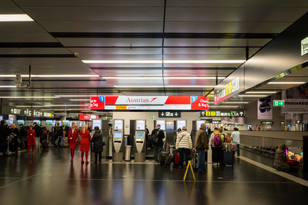 Vienna, Austria - December 2017: Austrian airlines check-in counter area at Vienna Schwechat Airtport Terminal 1. Austrian Airlines is the flag carrier of Austria. Redakční
