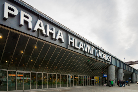 Prague, Czech Republic - December 2017: Prague central train station. Prague's central station is the main train station in Prague, Czech Republic.