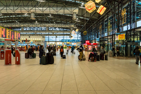 Prague, Czech Republic - December 2017: Departurea area of Vaclav Havel Airport Terminal 2, formerly known as Ruzyne - international airport of Prague, Czech Republic, located 12 km west of the city.
