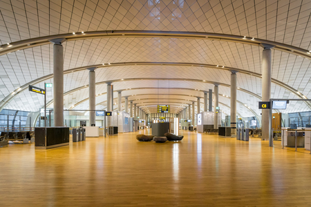 Oslo, Norway - January 2018: Oslo Gardermoen International Airport departure terminal architecture. The Oslo Gardermoen airport has biggest passenger flow in Norway.