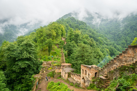 Fuman, Iran - June 2018: Rudkhan Castle architecture in Iran. Rudkhan Castle is a brick and stone medieval castle, located 25 km southwest of Fuman city north of Iran in Gilan province. Editorial