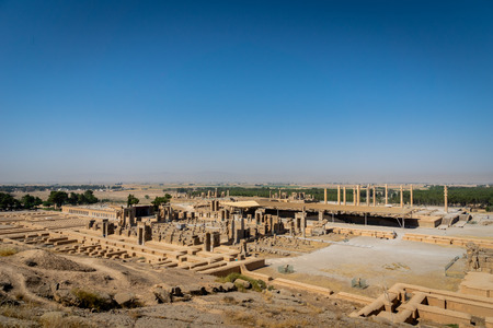 Persepolis in Iran. View of the ancient ruins from above, aerial view