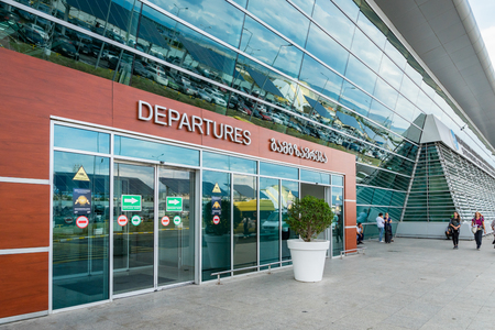 Tbilisi, Georgia - August 2018: Shota Rustaveli Tbilisi international airport - departure terminal architecture. Tbilisi international airport is the biggest airport in Georgia.