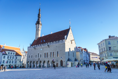 Tallinn, Estonia - March 2018: Town Hall square in Old Town of Tallinn Estonia. Old Town is listed in the UNESCO World Heritage List