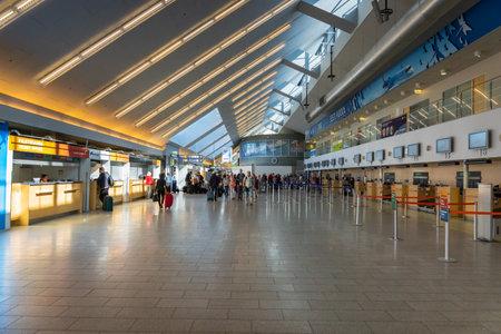 Tallinn, Estonia - July 2018: Tallinn Airport departure area architecture. Tallinn Airport is the main airport in Estonia.