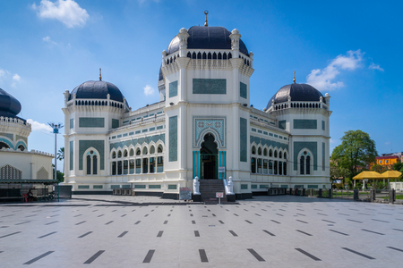 Medan, Indonesia - January 2018: Great Mosque of Medan or Masjid Raya Al Mashun is a mosque located in Medan, Indonesia. The mosque was built in the year 1906 and one of the largest in Medan.