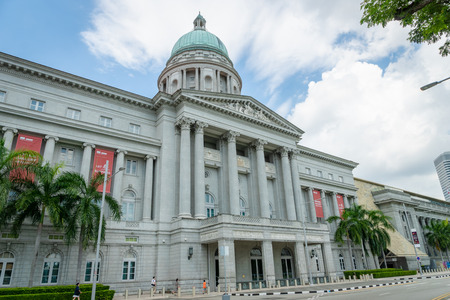 Singapore - January 2019: National Gallery Singapore entrance. The Gallery is a popular tourist destination in downtown Singapore.