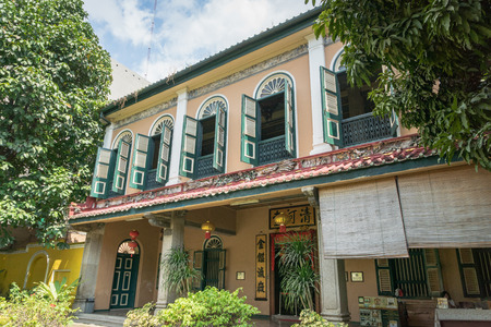 Medan, Indonesia - January 2019: Tjong A Fie Mansion entrance. The mansion is a two-story building in Medan, North Sumatra, built by Tjong A Fie and a popular tourist sight. Editorial