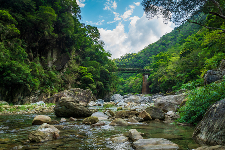 Taroko national park canyon landscape in Hualien, Taiwan. Nature view of Shakadang hiking trail.
