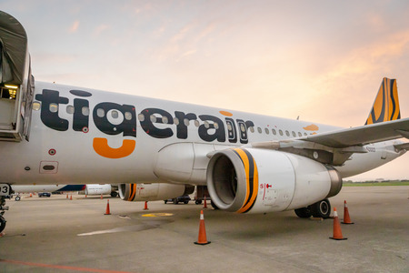 Taipei, Taiwan - February 2019: Tigerair aircraft landed in Taipei  Taoyuan International Airport. Tigerair Taiwan is a low-cost carrier based at Taoyuan International Airport. Редакционное