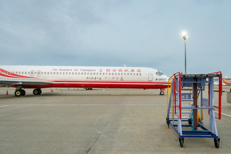 Taipei, Taiwan - March 2019:  Far Eastern Air Transport aircraft on runway of Taipei Taoyuan Airport. Far Eastern Air Transport is a regional airline with its head office in Taipei.