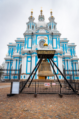Saint Petersburg, Russia - May 2019: Smolny Cathedral Church of the Resurrection. Smolny Church is a popular tourist sight in St. Petersburg in Russia. 新聞圖片