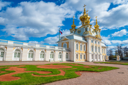 Church of Peter and Paul in the Grand Peterhof Palace, Upper garden. The Peterhof Palace is a series of palaces and gardens and a popular tourist destination.