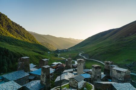 Ushguli village landscape at sunset in Svaneti region, Georgia.