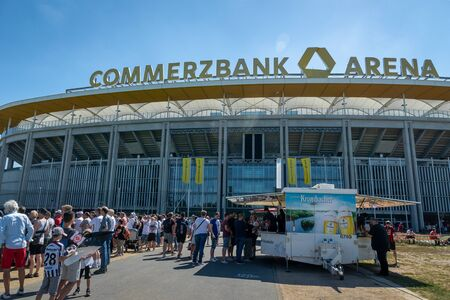 Frankfurt, Germany- July 2019: View of Commerzbank Arena and football fans. Commerzbank-Arena is home stadium of football club Eintracht Frankfurt. Editorial